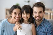 Little Daughter Holding Keys Happy Family Buy New Home poster