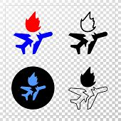 Airplane Crash Eps Vector Pictograph With Contour, Black And Colored Versions. Illustration Style Is poster