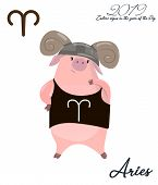 Pig Calendar For April 2019. Cute Month Calendar With Horoscope Sign Aries. Week Starts On Monday. V poster
