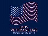 Veterans Day 11Th Of November. Honoring All Who Served. Neon Us Flag, Neon Signboard. Vector Illustr poster