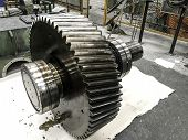Wheeler Gear Shaft Of Motor, Maintain And Clean Gear Shaft Of Rotating Motor, Repair Motor, Part Of  poster
