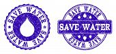 Grunge Save Water Stamp Seal Imprints. Save Water Text Inside Blue Scratched Rubber Seals With Grung poster