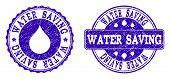Grunge Water Saving Stamp Seal Imprints. Water Saving Text Inside Blue Distress Rubber Seals With Gr poster