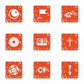 Desire Icons Set. Grunge Set Of 9 Desire Icons For Web Isolated On White Background poster