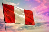 Fluttering Peru Flag On Colorful Cloudy Sky Background. Peru Prospering Concept. poster