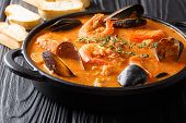 Catalan Authentic Spicy Suquet De Peix Soup With Potatoes, Shrimps, Mussels, Herbs And Fish With Pic poster