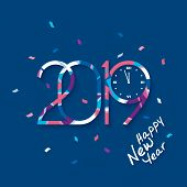 2019 Happy New Year. Patterned Numbers With Clock That Count Midnight On Blue Background. New Year 2 poster