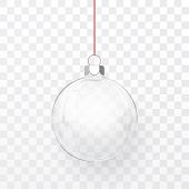 Glass Transparent Christmas Ball. Xmas Glass Ball On Transparent Background. Holiday Decoration Temp poster