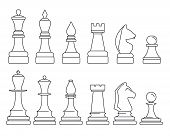 Chess Piece Icon Set. Outline Set Of Chess Piece Vector Icons For Web Design Isolated On White Backg poster