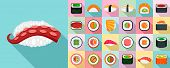 Sushi Roll Icon Set. Flat Set Of Sushi Roll Vector Icons For Web Design poster