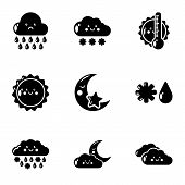Meteorological Information Icons Set. Simple Set Of 9 Meteorological Information Vector Icons For We poster