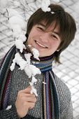 Pretty  European Teens Boy With Snown Branch Are Laughing Outdoors In Winter