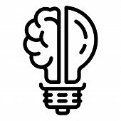 Brain Bulb Icon. Outline Brain Bulb Vector Icon For Web Design Isolated On White Background poster