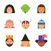 Fantasy Game Avatars. Fairy Tale Characters Elf Wizard King Warrior Goblin Princess Vector Portraits poster