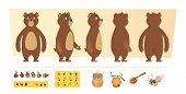 Cartoon Bear Animation. Cute Wild Animal Body Parts And Nature Items Honey Trees Vector Character Cr poster