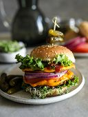 Vegan cheeseburger food photography recipe idea poster
