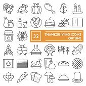 Thanksgiving Thin Line Icon Set, Celebration Symbols Collection, Vector Sketches, Logo Illustrations poster