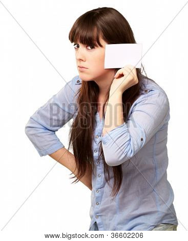 Portrait Of A Girl Holding Paper And Sad On White Background