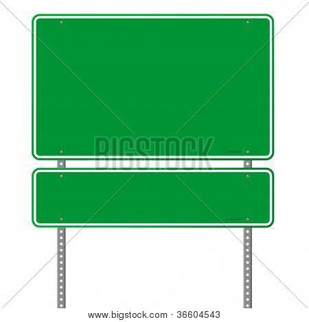 Green Blank Roadsign