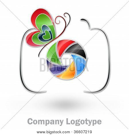 Photography company logo with a colored butterfly #Vector