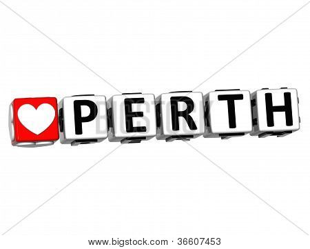3D Love Perth Button Click Here Block Text