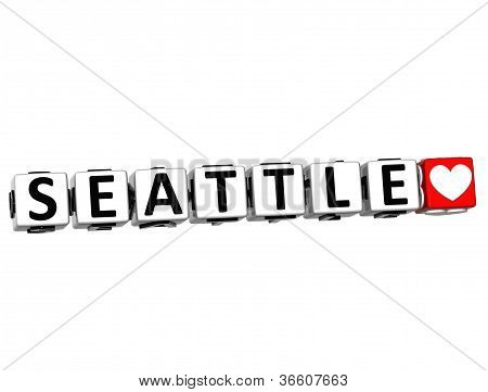 3D Seattle Love Button Click Here Block Text