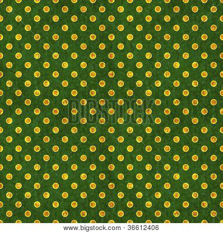 Seamless Green & Gold Polka Dot