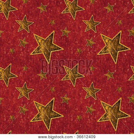Seamless Gold Stars on Deep Red