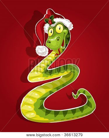 Cute Christmas snake bent in the form of a Christmas tree. On red background
