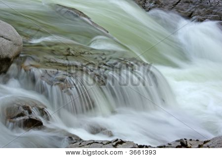 River Water Flowing Over Rocks