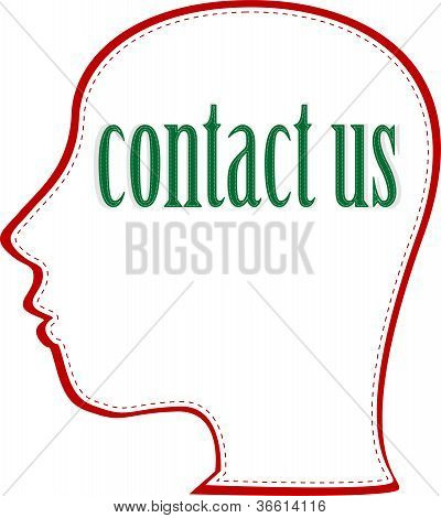 Human head with word Contact Us. vector