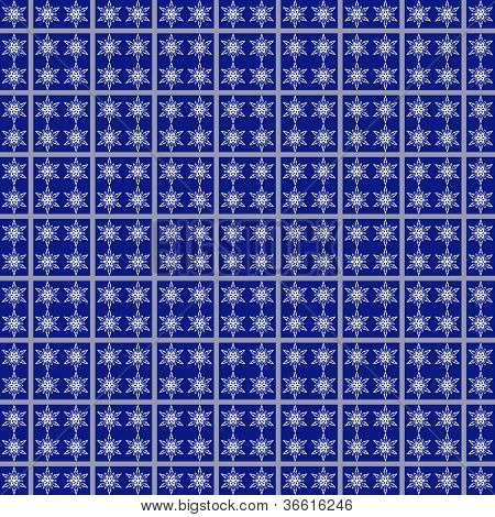 Snowflakes Seamless Pattern In Blue Square