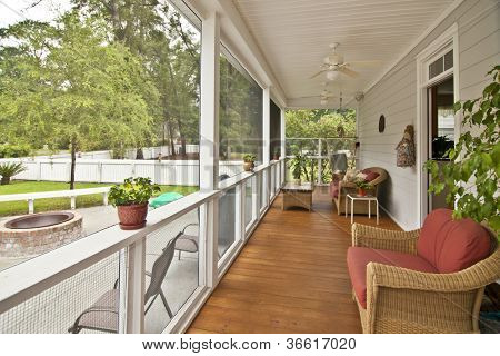 upscale porch with furniture