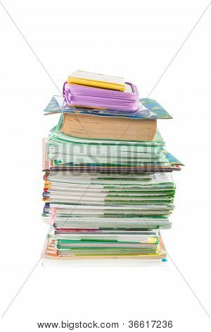 Pile of school books
