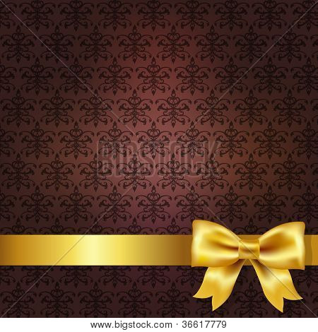 Dark Red Damask Background Wit Gold Bow, Vector Illustration