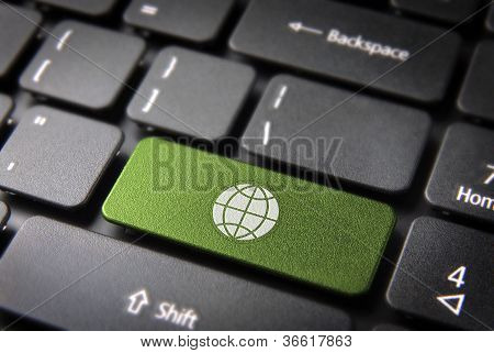 Go Green Globe Keyboard Key, Ecology Background