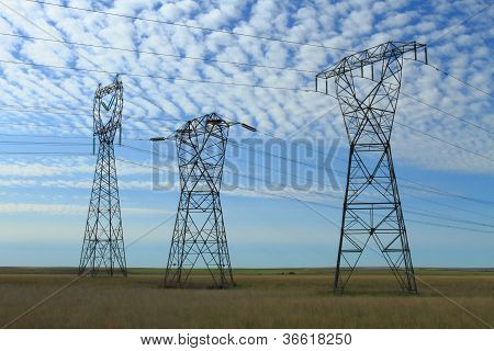 Three Electrical Power Pylons
