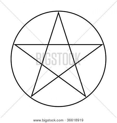 Wicca Pentacle sign isolated on a white background.