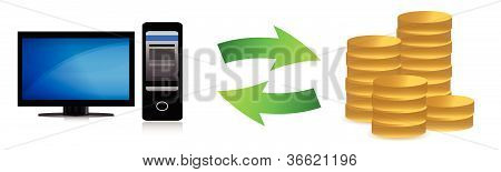 computer online bank transfer illustration design over white