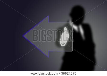 Button Arrow With Businessman