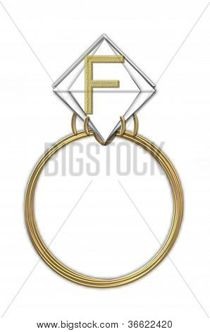 Alphabet Diamond Ring F