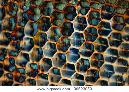 dirty Metal texture pattern with holes honeycombs