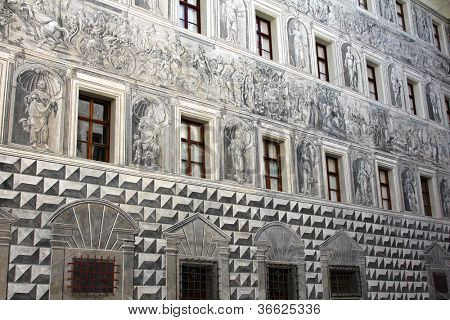 Grisaille (Grey Relief) : Detailed painting on the wall in the courtyard of Schloss Ambras Castle, Innsbruck, Austria