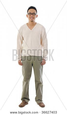 Front view full body Asian man over white background