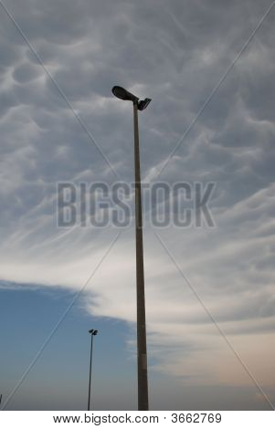 Street Lamps And Mammatus Clouds