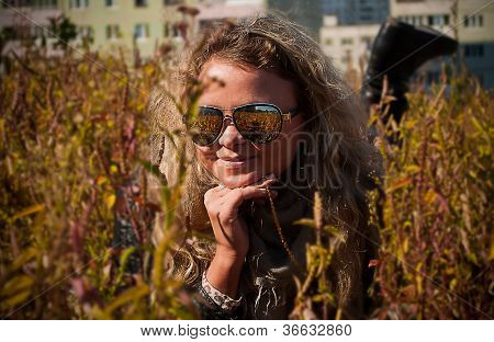Young Woman In Mirror Sunglasses
