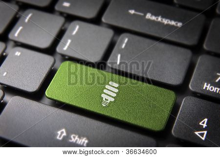 Green Energy Keyboard Key, Environmental Background