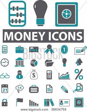 money icons set, vector