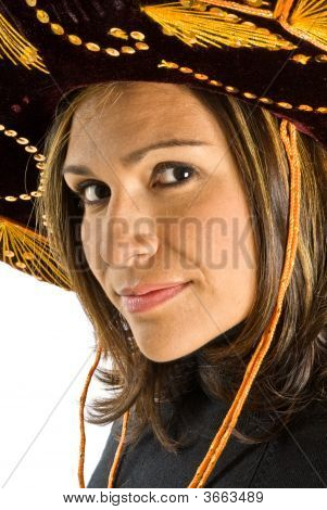 Hispanic Woman Wearing A Sombrero