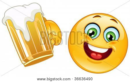 Emoticon cheering with a mug of beer